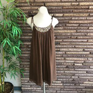 Laundry by Design Brown Jeweled Sun Dress NWT